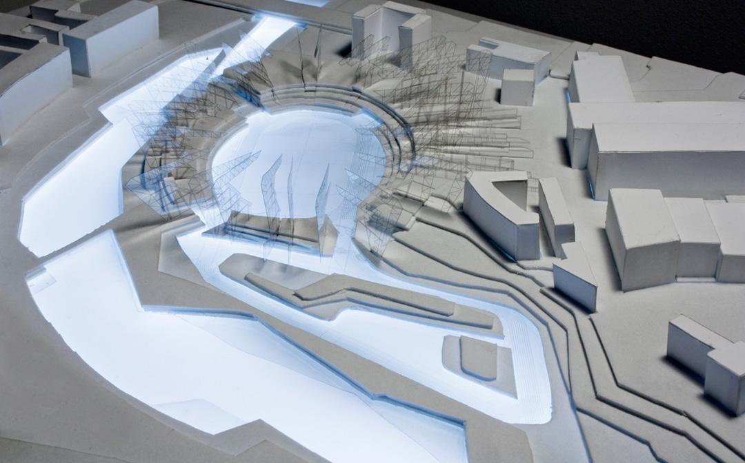 Estadio Olímpico na ribeira do Manzanares